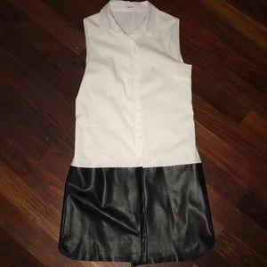 Bailey 44 white button dress w/  black leather.